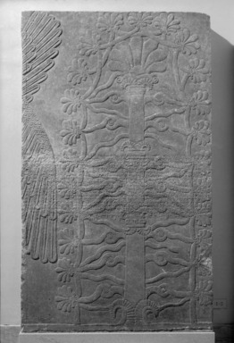 Assyrian. <em>Sacred Tree</em>, ca. 883-859 B.C.E. Alabaster, 89 7/8 x 53 9/16 in. (228.3 x 136 cm). Brooklyn Museum, Purchased with funds given by Hagop Kevorkian and the Kevorkian Foundation, 55.150. Creative Commons-BY (Photo: , 55.150_bw_SL1.jpg)