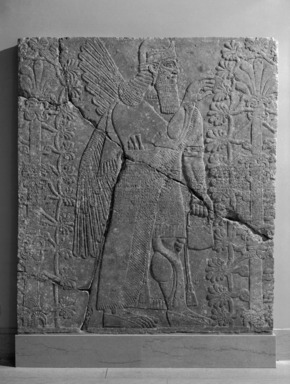 Assyrian. <em>Apkallu-figure Fertilizing the Sacred Tree</em>, ca. 883-859 B.C.E. Alabaster, 90 1/2 x 78 15/16 in. (229.8 x 200.5 cm). Brooklyn Museum, Purchased with funds given by Hagop Kevorkian and the Kevorkian Foundation, 55.151. Creative Commons-BY (Photo: , 55.151_bw_SL1.jpg)