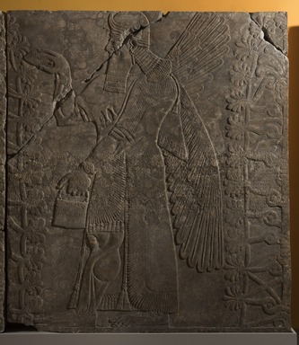 Assyrian. <em>Apkallu-figure Fertilizing the Sacred Tree</em>, ca. 883-859 B.C.E. Gypsum stone, 90 1/4 x 79 1/8 in. (229.2 x 201 cm). Brooklyn Museum, Purchased with funds given by Hagop Kevorkian and the Kevorkian Foundation, 55.152. Creative Commons-BY (Photo: Brooklyn Museum, 55.152_at_PS11.jpg)