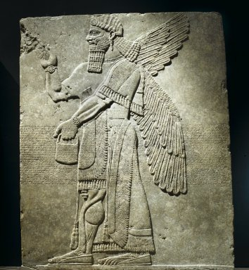 Assyrian. <em>Winged Genie Wearing Fancy Bracelets</em>, ca. 883-859 B.C.E. Alabaster, 91 x 74 5/8 in. (231.2 x 189.5 cm). Brooklyn Museum, Purchased with funds given by Hagop Kevorkian and the Kevorkian Foundation, 55.153. Creative Commons-BY (Photo: Brooklyn Museum, 55.153_PS2.jpg)