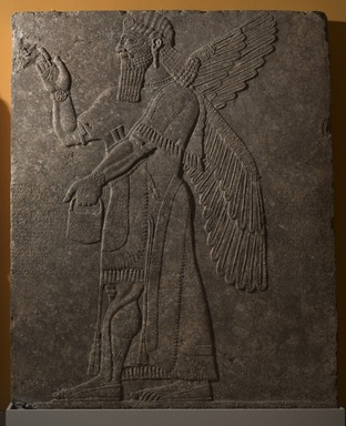 Assyrian. <em>Apkallu-figure Wearing Fancy Bracelets</em>, ca. 883-859 B.C.E. Gypsum stone, 91 x 74 5/8 in. (231.2 x 189.5 cm). Brooklyn Museum, Purchased with funds given by Hagop Kevorkian and the Kevorkian Foundation, 55.153. Creative Commons-BY (Photo: Brooklyn Museum, 55.153_at_PS11.jpg)