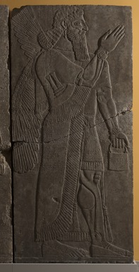 Assyrian. <em>Apkallu-figure</em>, ca. 883-859 B.C.E. Gypsum stone, 90 9/16 x 42 1/4 in. (230 x 107.3 cm). Brooklyn Museum, Purchased with funds given by Hagop Kevorkian and the Kevorkian Foundation, 55.154. Creative Commons-BY (Photo: Brooklyn Museum, 55.154_at_PS11.jpg)
