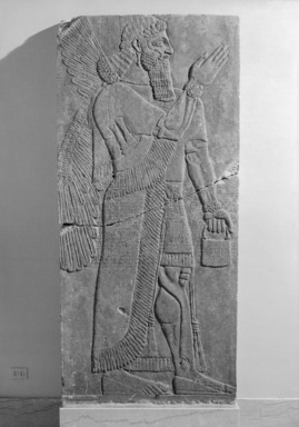 Assyrian. <em>Apkallu-figure</em>, ca. 883-859 B.C.E. Alabaster, 90 9/16 x 42 1/4 in. (230 x 107.3 cm). Brooklyn Museum, Purchased with funds given by Hagop Kevorkian and the Kevorkian Foundation, 55.154. Creative Commons-BY (Photo: , 55.154_bw_SL1.jpg)