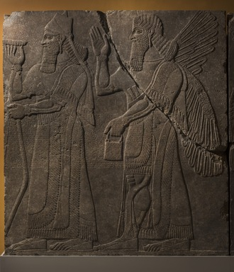 Assyrian. <em>Apkallu-figure and King Ashur-nasir-pal II</em>, ca. 883-859 B.C.E. Gypsum stone, pigment, 91 1/8 x 83 3/8 in. (231.5 x 211.8 cm). Brooklyn Museum, Purchased with funds given by Hagop Kevorkian and the Kevorkian Foundation, 55.155. Creative Commons-BY (Photo: Brooklyn Museum, 55.155_PS11.jpg)