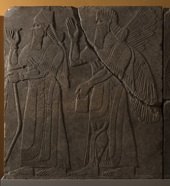 Assyrian. <em>Apkallu-figure and King Ashur-nasir-pal II</em>, ca. 883-859 B.C.E. Gypsum stone, pigment, 91 1/8 x 83 3/8 in. (231.5 x 211.8 cm). Brooklyn Museum, Purchased with funds given by Hagop Kevorkian and the Kevorkian Foundation, 55.155. Creative Commons-BY (Photo: Brooklyn Museum, 55.155_at_PS11.jpg)