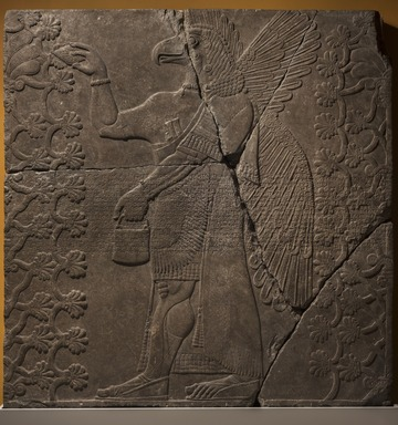 Assyrian. <em>Apkallu-figure Between Two Sacred Trees</em>, ca. 883-859 B.C.E. Alabaster, 84 13/16 x 83 1/8 in. (215.5 x 211.2 cm). Brooklyn Museum, Purchased with funds given by Hagop Kevorkian and the Kevorkian Foundation, 55.156. Creative Commons-BY (Photo: Brooklyn Museum, 55.156_PS11.jpg)