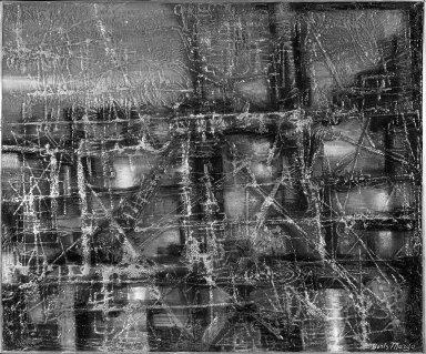 Boris Margo (American, 1902-1995). <em>Winter Evening</em>. Lacquer on aluminum, 30 1/4 x 36 in. (76.8 x 91.4 cm). Brooklyn Museum, John B. Woodward Memorial Fund, 55.158. © artist or artist's estate (Photo: Brooklyn Museum, 55.158_acetate_bw.jpg)