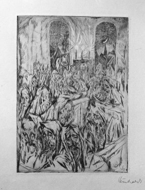 Jacob Steinhardt (1887-1968). <em>Synagogue (Der Bethaus)</em>, 1913. Drypoint on buff paper, 7 1/16 × 5 1/16 in. (17.9 × 12.9 cm). Brooklyn Museum, Gift of Dr. F.H. Hirschland, 55.165.12 (Photo: Brooklyn Museum, 55.165.12_bw_IMLS.jpg)