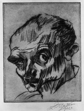 Ludwig Meidner (German, 1884-1966). <em>Self-Portrait (Selbstbildnis)</em>, 1920. Drypoint on wove paper, Image (Plate): 7 9/16 x 5 15/16 in. (19.2 x 15.1 cm). Brooklyn Museum, Gift of Dr. F.H. Hirschland, 55.165.1. © artist or artist's estate (Photo: Brooklyn Museum, 55.165.1_acetate_bw.jpg)