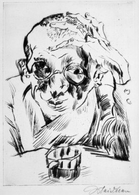 Ludwig Meidner (German, 1884-1966). <em>Portrait of the Writer Max Hermann-Neisse (Bildnis des Schriftstellers Max Hermann-Neisse)</em>, 1919. Drypoint on laid paper, Image: 8 1/4 x 5 15/16 in. (21 x 15.1 cm). Brooklyn Museum, Gift of Dr. F.H. Hirschland, 55.165.22. © artist or artist's estate (Photo: Brooklyn Museum, 55.165.22_bw_IMLS.jpg)