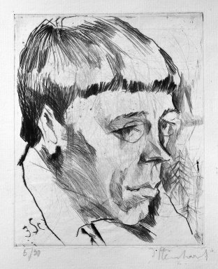 Jacob Steinhardt (1887-1968). <em>Portrait of a Poet (Rudolph Börsch?) (Porträt eines Dichters [Rudolph Börsch?])</em>, 1914. Drypoint on laid paper, Image (Plate): 5 5/16 x 4 7/16 in. (13.5 x 11.3 cm). Brooklyn Museum, Gift of Dr. F.H. Hirschland, 55.165.23 (Photo: Brooklyn Museum, 55.165.23_bw_IMLS.jpg)
