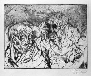 Jacob Steinhardt (1887-1968). <em>Mortality (Vergänglichkeit)</em>, 1914. Drypoint and roulette on Japan paper, Image (Plate): 4 3/8 x 5 11/16 in. (11.1 x 14.4 cm). Brooklyn Museum, Gift of Dr. F.H. Hirschland, 55.165.42 (Photo: Brooklyn Museum, 55.165.42_bw_IMLS.jpg)