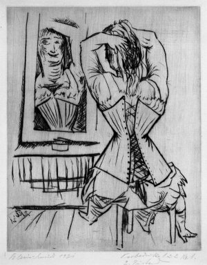 Paul Kleinschmidt (German, 1883-1949). <em>Woman Seated Before a Mirror (Frau, sitzende vor Spiegel)</em>, 1921. Drypoint on wove paper, Sheet: 12 13/16 x 9 5/16 in. (32.5 x 23.7 cm). Brooklyn Museum, Gift of Dr. F.H. Hirschland, 55.165.43 (Photo: Brooklyn Museum, 55.165.43_bw_IMLS.jpg)