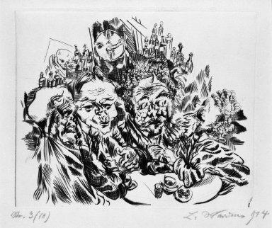 Ludwig Meidner (German, 1884-1966). <em>Studio of the Artist (Der Künstleratelier)</em>, 1914. Drypoint on thick wove paper, Sheet: 11 3/16 x 15 1/16 in. (28.4 x 38.3 cm). Brooklyn Museum, Gift of Dr. F.H. Hirschland, 55.165.45. © artist or artist's estate (Photo: Brooklyn Museum, 55.165.45_bw_IMLS.jpg)