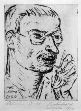 Paul Kleinschmidt (German, 1883-1949). <em>Self-Portrait (Selbstbildnis)</em>, March 1920. Drypoint on laid paper, Sheet: 12 1/4 x 9 15/16 in. (31.1 x 25.2 cm). Brooklyn Museum, Gift of Dr. F.H. Hirschland, 55.165.51 (Photo: Brooklyn Museum, 55.165.51_bw_IMLS.jpg)
