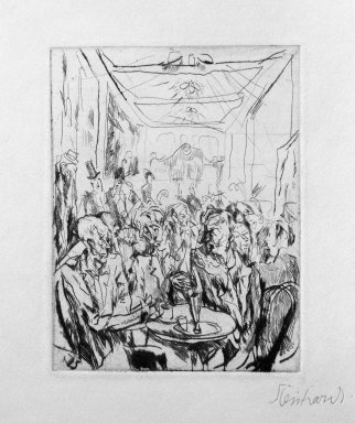 Jacob Steinhardt (1887-1968). <em>Coffeehouse (Cafehaus)</em>, 1913. Drypoint on buff wove paper, Image (Plate): 3 3/4 x 2 7/8 in. (9.5 x 7.3 cm). Brooklyn Museum, Gift of Dr. F.H. Hirschland, 55.165.53 (Photo: Brooklyn Museum, 55.165.53_bw_IMLS.jpg)