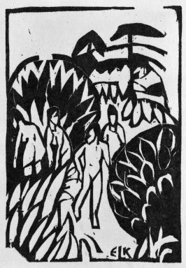 Ernst Ludwig Kirchner (German, 1880-1938). <em>Bathers (Badende)</em>, 1912. Woodcut on heavy wove paper, Sheet: 7 1/2 x 5 in. (19.1 x 12.7 cm). Brooklyn Museum, Gift of Dr. F.H. Hirschland, 55.165.5 (Photo: Brooklyn Museum, 55.165.5_bw_IMLS.jpg)