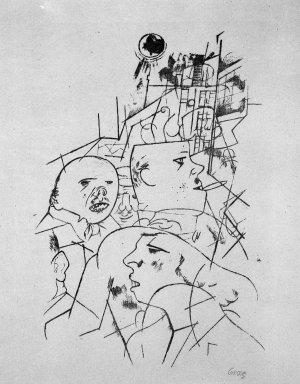 George Grosz (American, born Germany, 1893-1959). <em>Street Scene (Strassenszene)</em>, 1919-1920. Photo-transfer lithograph on wove paper, Image: 15 1/4 x 10 1/2 in. (38.7 x 26.7 cm). Brooklyn Museum, Gift of Dr. F.H. Hirschland, 55.165.62 (Photo: Brooklyn Museum, 55.165.62_bw_IMLS.jpg)