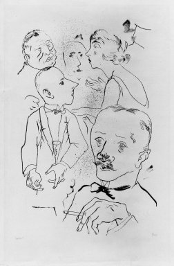 George Grosz (American, born Germany, 1893-1959). <em>The New Generation (Nachwuchs)</em>, 1921-1922. Photo-transfer lithograph on laid paper, Image: 19 1/2 x 12 1/2 in. (49.5 x 31.8 cm). Brooklyn Museum, Gift of Dr. F.H. Hirschland, 55.165.64 (Photo: Brooklyn Museum, 55.165.64_acetate_bw.jpg)