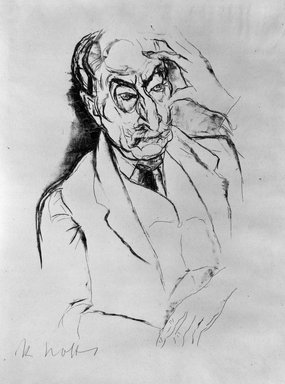 Rudolf Grossman (German, 1882-1941). <em>Portrait of Max Liebermann</em>. Lithograph on laid paper, 11 3/4 x 7 3/4 in. (29.8 x 19.7 cm). Brooklyn Museum, Gift of Dr. F.H. Hirschland, 55.165.72 (Photo: Brooklyn Museum, 55.165.72_bw_IMLS.jpg)