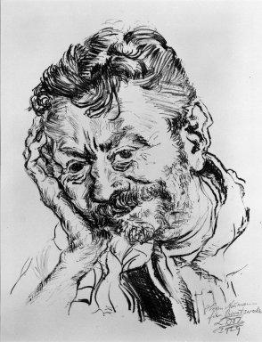 Ludwig Meidner (German, 1884-1966). <em>Portrait of J. Rückenbrod (Bildnis J. Rückenbrod)</em>, 1919. Lithograph on wove paper, Image (Plate): 14 3/4 x 11 1/2 in. (37.5 x 29.2 cm). Brooklyn Museum, Gift of Dr. F.H. Hirschland, 55.165.96. © artist or artist's estate (Photo: Brooklyn Museum, 55.165.96_bw_IMLS.jpg)