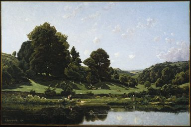 Henri-Joseph Harpignies (French, 1819-1916). <em>A Meadow in the Bourbonnais, Morning (Une Prairie du Bourbonnais, par un effet de matin)</em>, 1876. Oil on canvas, 44 x 66 in. (111.8 x 167.6 cm). Brooklyn Museum, Gift of Mrs. Thomas F. Walsh, 55.18 (Photo: Brooklyn Museum, 55.18_colorcorrected_SL1.jpg)