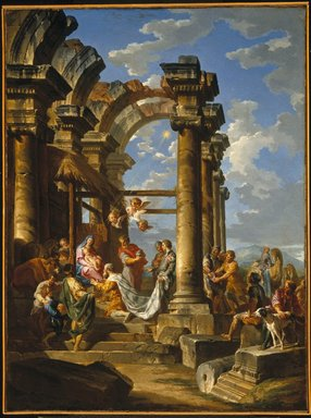 Giovanni Paolo Panini (Italian, 1691-1765). <em>Adoration of the Magi</em>, ca. 1755. Oil on canvas, 39 x 29 in. (99.1 x 73.7 cm). Brooklyn Museum, Gift of Mrs. Thomas F. Walsh, 55.19 (Photo: Brooklyn Museum, 55.19_SL1.jpg)