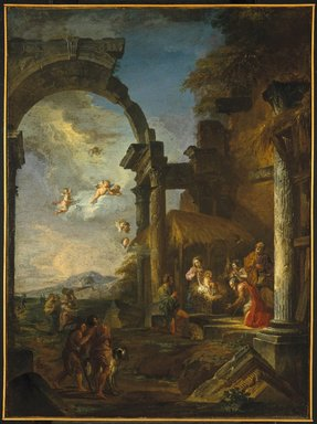 Giovanni Paolo Panini (Italian, 1691-1765). <em>Adoration of the Shepherds</em>, ca. 1755. Oil on canvas, 38 x 28 7/8 in. (96.5 x 73.3cm). Brooklyn Museum, Gift of Mrs. Thomas F. Walsh, 55.20 (Photo: Brooklyn Museum, 55.20_SL1.jpg)