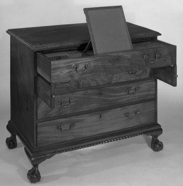 American. <em>Chest</em>, Circa 1770. Mahogany, 33 1/4 × 37 1/2 × 22 in. (84.5 × 95.3 × 55.9 cm). Brooklyn Museum, Dick S. Ramsay Fund, 55.225. Creative Commons-BY (Photo: Brooklyn Museum, 55.225_bw.jpg)