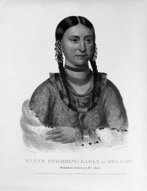 Peter Duval. <em>Hayne Hud-Jihini (Eagle of Delight)</em>, 1833. Hand-colored lithograph on paper, Sheet: 19 1/8 x 13 1/2 in. (48.6 x 34.3 cm). Brooklyn Museum, Gift of Elizabeth Crawford in memory of M. D. C. Crawford, 55.239.4 (Photo: Brooklyn Museum, 55.239.4_bw.jpg)