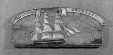 American. <em>Sign or Ship Decoration</em>, ca. 1850. Oil painting on pine, 11 x 26 1/2 in. (27.9 x 67.3 cm). Brooklyn Museum, Gift of Edith Gregor Halpert, 55.24. Creative Commons-BY (Photo: Brooklyn Museum, 55.24_bw.jpg)