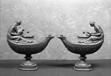 Josiah Wedgwood & Sons Ltd. (founded 1759). <em>Oil Lamp</em>. Basalt (stoneware) Brooklyn Museum, Gift of Emily Winthrop Miles, 55.25.13b-c. Creative Commons-BY (Photo: , 55.25.13a-b_acetate_bw.jpg)