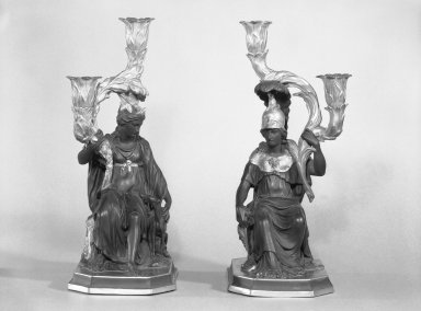 Josiah Wedgwood & Sons Ltd. (founded 1759). <em>Candelabras</em>, ca.1885. Basaltes Brooklyn Museum, Gift of Emily Winthrop Miles, 55.25.4a-b. Creative Commons-BY (Photo: Brooklyn Museum, 55.25.4a-b_bw.jpg)