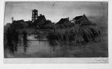 Joseph Pennell (American, 1860-1926). <em>Twilight Pilot Town, LA</em>, 1882. Etching and drypoint, 8 3/16 x 15 1/16 in. (20.8 x 38.2 cm). Brooklyn Museum, Gift of Charles Nagel, 55.32.1 (Photo: Brooklyn Museum, 55.32.1_bw.jpg)