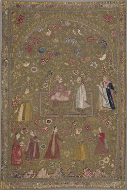 <em>Textile Hanging</em>, ca. 1698. Silk, metal, cotton, Textile dims, observed 2006 :: 71 5/8 x 45 in. (181.9 x 114.3 cm). Brooklyn Museum, Gift of Dr. and Mrs. Frank L. Babbott, Jr., 55.33.1 (Photo: Brooklyn Museum, 55.33.1_PS9.jpg)