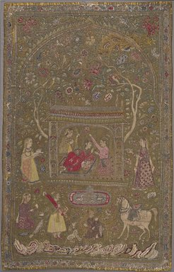 <em>Textile Hanging</em>, early 17th century. Silk, metal, cotton, Textile dims, observed 2006 :: 71 5/8 x 46 1/2 in. (181.9 x 118.1 cm). Brooklyn Museum, Gift of Dr. and Mrs. Frank L. Babbott, Jr., 55.33.2 (Photo: Brooklyn Museum, 55.33.2_PS9.jpg)