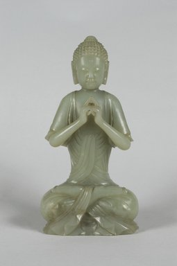 <em>Seated Buddhist Figure</em>, 1736-1796. Jadeite, at knees: 8 3/4 x 4 5/16 in. (22.3 x 11 cm). Brooklyn Museum, Bequest of Charlotte R. Stillman, 55.34. Creative Commons-BY (Photo: Brooklyn Museum, 55.34_PS5.jpg)