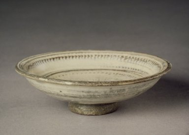 <em>Bowl</em>, last half of 15th-16th century. Buncheong ware, stoneware with white slip, Height: 1 1/8 in. (2.9 cm). Brooklyn Museum, Anonymous gift in honor of Langdon Warner, 55.35.2. Creative Commons-BY (Photo: Brooklyn Museum, 55.35.2.jpg)