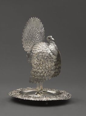 <em>Container in the Shape of a Turkey</em>, early 19th century. Silver alloy and red stones, 10 3/4 x 7 1/2 x 8 5/8 in. (27.3 x 19.1 x 21.9cm). Brooklyn Museum, Bequest of Charlotte R. Stillman, 55.36.4. Creative Commons-BY (Photo: Brooklyn Museum, 55.36.4_PS6.jpg)