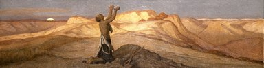 Elihu Vedder (American, 1836-1923). <em>Prayer for Death in the Desert</em>, ca. 1867. Oil on canvas, 13 7/8 x 49 5/8 in. (35.2 x 126 cm). Brooklyn Museum, Gift of the American Academy of Arts and Letters, 55.40 (Photo: Brooklyn Museum, 55.40_reference_SL1.jpg)