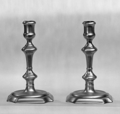<em>Pair of Candlesticks</em>, 1725-1750. Brass, 6 1/4 in. (15.9 cm). Brooklyn Museum, Gift of Leon Levy, 55.83a-b. Creative Commons-BY (Photo: Brooklyn Museum, 55.83a-b_bw.jpg)