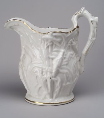 Attributed to Josiah Jones. <em>Pitcher</em>, 1848-1856. Porcelain, Height: 11 in. (27.9 cm.); Diameter of base: 6 1/8 in. (15.6 cm.). Brooklyn Museum, Gift of Anna B. Van Nort, 55.85. Creative Commons-BY (Photo: Brooklyn Museum, 55.85.jpg)
