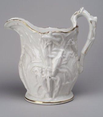 Attributed to Josiah Jones. <em>Pitcher</em>, 1848-1856. Porcelain, Height: 11 in. (27.9 cm.); Diameter of base: 6 1/8 in. (15.6 cm.). Brooklyn Museum, Gift of Anna B. Van Nort, 55.85. Creative Commons-BY (Photo: Brooklyn Museum, 55.85.jpg)