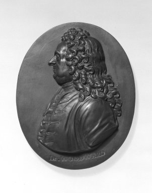 Wedgwood & Bentley (1768-1780). <em>Portrait Medallion</em>, 1775-1780. Basaltes, 3 1/4 x 2 5/8 in. (8.3 x 6.7 cm). Brooklyn Museum, Gift of Emily Winthrop Miles, 55.9.15. Creative Commons-BY (Photo: Brooklyn Museum, 55.9.15_bw.jpg)