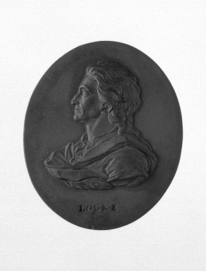 Wedgwood & Bentley (1768-1780). <em>Portrait Medallion</em>, 1775-1780. Basaltes, 2 1/16 x 1 3/4 in. (5.2 x 4.4 cm). Brooklyn Museum, Gift of Emily Winthrop Miles, 55.9.17. Creative Commons-BY (Photo: Brooklyn Museum, 55.9.17_bw.jpg)