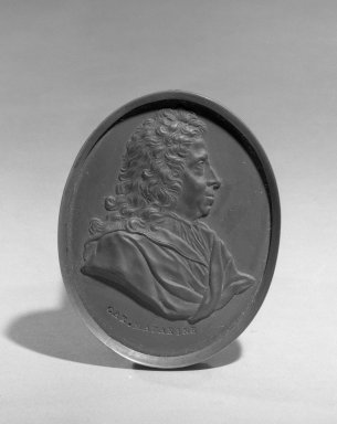 Wedgwood & Bentley (1768-1780). <em>Portrait Medallion</em>, ca.1775. Basaltes, 3 x 2 3/8 in. (7.6 x 6 cm). Brooklyn Museum, Gift of Emily Winthrop Miles, 55.9.1. Creative Commons-BY (Photo: Brooklyn Museum, 55.9.1_acetate_bw.jpg)