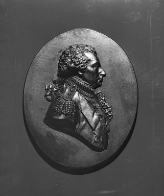 Wedgwood & Bentley (1768-1780). <em>Portrait Medallion</em>, ca.1790. Basaltes, 3 7/8 x 3 in. (9.8 x 7.6 cm). Brooklyn Museum, Gift of Emily Winthrop Miles, 55.9.22. Creative Commons-BY (Photo: Brooklyn Museum, 55.9.22_acetate_bw.jpg)