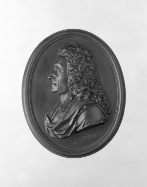 Wedgwood & Bentley (1768-1780). <em>Portrait Medallion</em>, ca.1775. Basaltes, 4 x 3 1/4 in. (10.2 x 8.3 cm). Brooklyn Museum, Gift of Emily Winthrop Miles, 55.9.2. Creative Commons-BY (Photo: Brooklyn Museum, 55.9.2_bw.jpg)