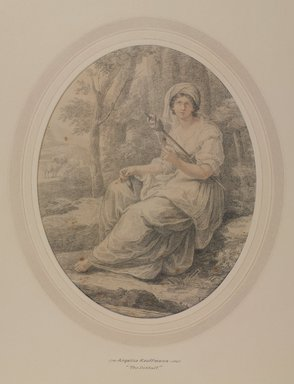 Angelica Kauffmann (Swiss, 1741-1807). <em>The Distaff</em>, 18th century. Drawing in colored crayon on wove paper, Sheet: 12 x 9 1/2 in. (30.5 x 24.1 cm). Brooklyn Museum, Gift of Emily Winthrop Miles, 55.9.31b (Photo: , 55.9.31b_PS9.jpg)