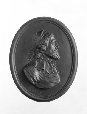 Wedgwood & Bentley (1768-1780). <em>Portrait Medallion</em>, ca.1775. Basaltes, 4 x 3 1/4 in. (10.2 x 8.3 cm). Brooklyn Museum, Gift of Emily Winthrop Miles, 55.9.3. Creative Commons-BY (Photo: Brooklyn Museum, 55.9.3_bw.jpg)